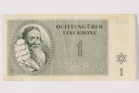 1992.218.1 front Theresienstadt ghetto-labor camp scrip, 1 krone note  Click to enlarge