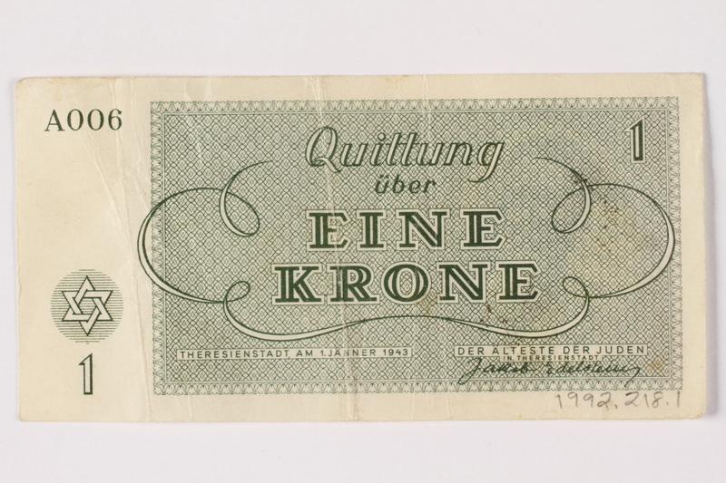 1992.218.1 back Theresienstadt ghetto-labor camp scrip, 1 krone note