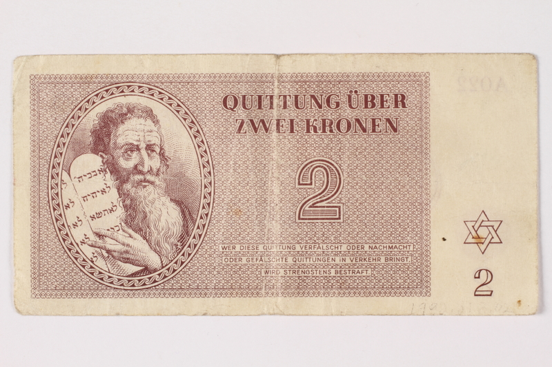 1992.218.2 front Theresienstadt ghetto-labor camp scrip, 2 kronen note