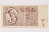 1992.218.2 front Theresienstadt ghetto-labor camp scrip, 2 kronen note  Click to enlarge