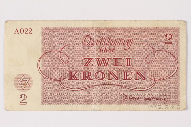 1992.218.2 back Theresienstadt ghetto-labor camp scrip, 2 kronen note