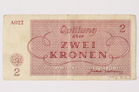 1992.218.2 back Theresienstadt ghetto-labor camp scrip, 2 kronen note  Click to enlarge