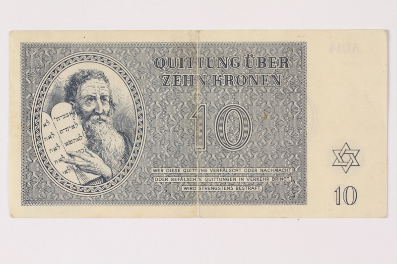 1992.218.3 front Theresienstadt ghetto-labor camp scrip, 10 kronen note
