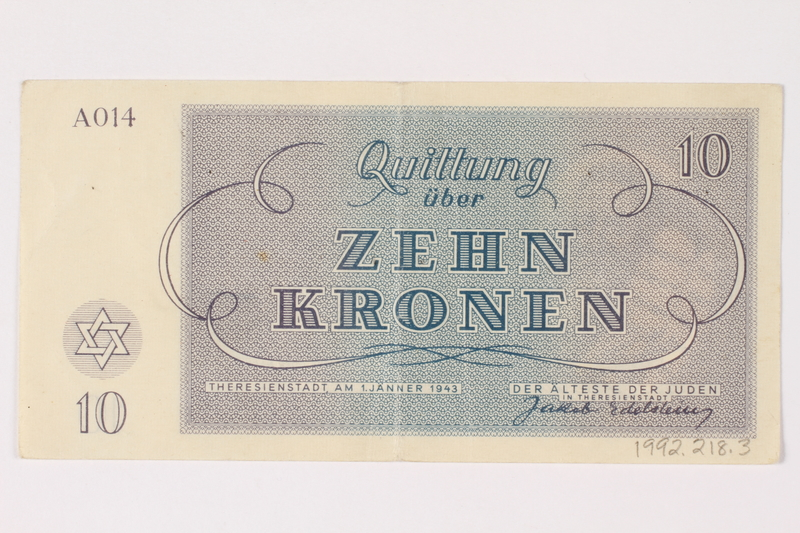 1992.218.3 back Theresienstadt ghetto-labor camp scrip, 10 kronen note