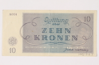 1992.218.3 back Theresienstadt ghetto-labor camp scrip, 10 kronen note  Click to enlarge