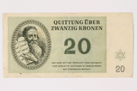 1992.218.4 front Theresienstadt ghetto-labor camp scrip, 20 kronen note  Click to enlarge