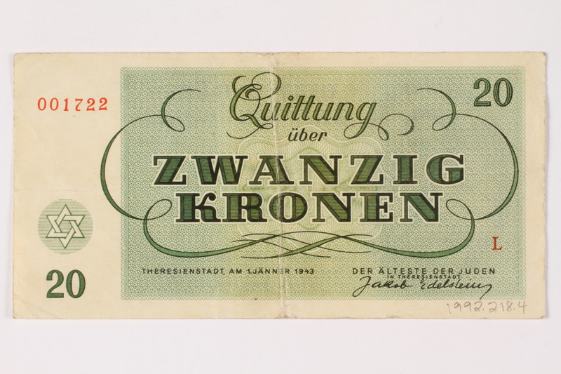 1992.218.4 back Theresienstadt ghetto-labor camp scrip, 20 kronen note