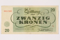 1992.218.4 back Theresienstadt ghetto-labor camp scrip, 20 kronen note  Click to enlarge