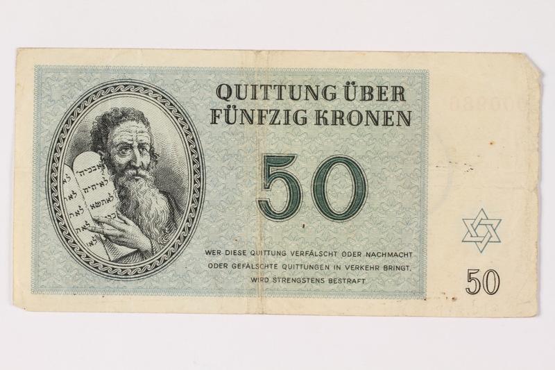 1992.218.5 front Theresienstadt ghetto-labor camp scrip, 50 kronen note