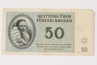 1992.218.5 front Theresienstadt ghetto-labor camp scrip, 50 kronen note  Click to enlarge