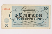 1992.218.5 back Theresienstadt ghetto-labor camp scrip, 50 kronen note  Click to enlarge