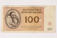 1992.218.6 front Theresienstadt ghetto-labor camp scrip, 100 kronen note  Click to enlarge