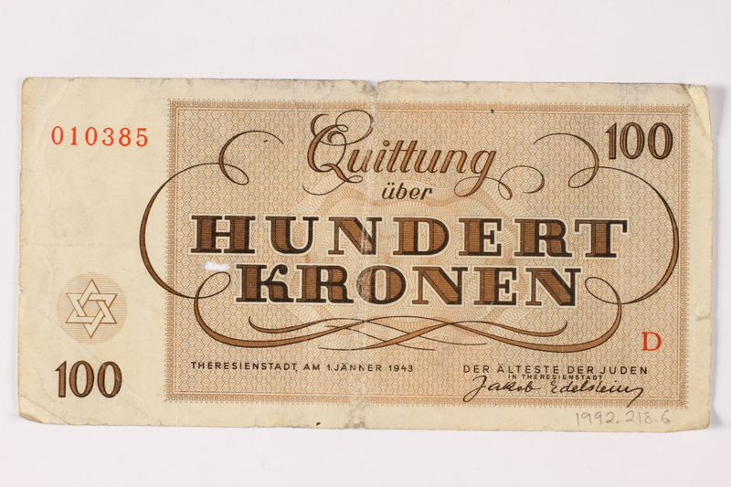 1992.218.6 back Theresienstadt ghetto-labor camp scrip, 100 kronen note