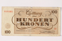 1992.218.6 back Theresienstadt ghetto-labor camp scrip, 100 kronen note  Click to enlarge