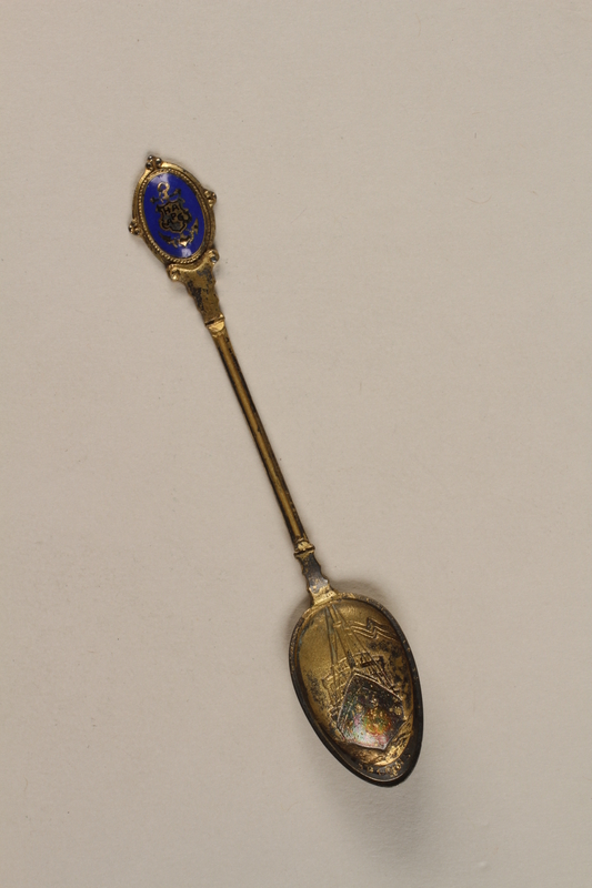 1992.22.1 front Gilt-plated demitasse spoon embossed with the MS St Louis