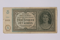 1992.221.10 front Czechoslovakia, 5 [funf] kronen note  Click to enlarge