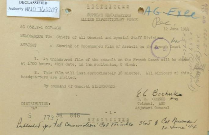 Memo annoucing Secret SHAEF film First film documentary of the events of D-day