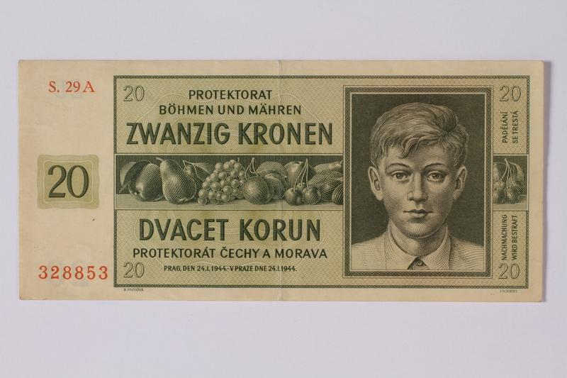 1992.221.12 front Theresienstadt ghetto-labor camp scrip, 20 kronen note