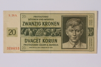 1992.221.12 front Theresienstadt ghetto-labor camp scrip, 20 kronen note  Click to enlarge