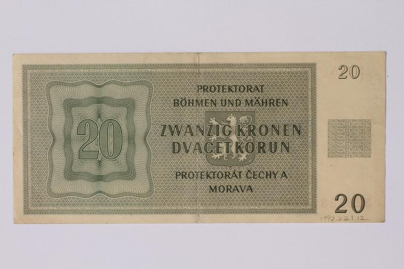 1992.221.12 back Theresienstadt ghetto-labor camp scrip, 20 kronen note