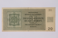 1992.221.12 back Theresienstadt ghetto-labor camp scrip, 20 kronen note  Click to enlarge