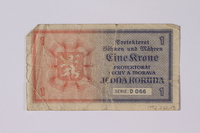 1992.221.13 back Czechoslovakia, 1 [eine] krone note  Click to enlarge