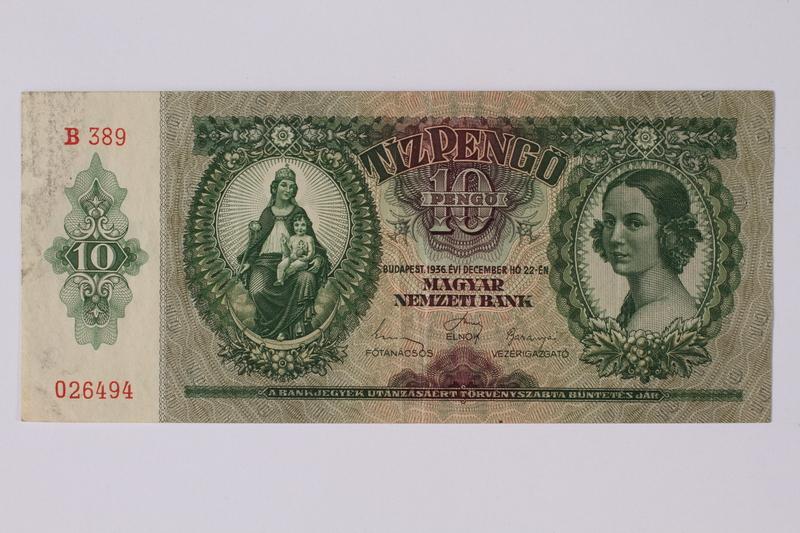 1992.221.14 front Hungary, 10 [zehn] pengo note