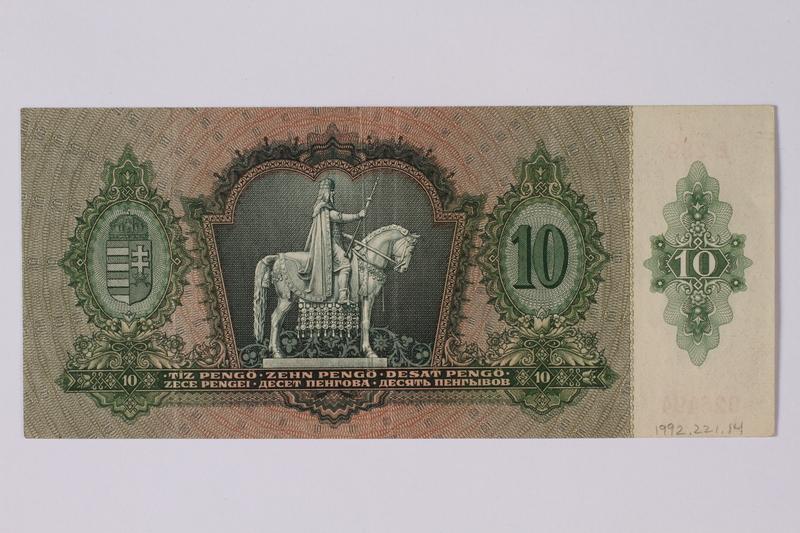 1992.221.14 back Hungary, 10 [zehn] pengo note