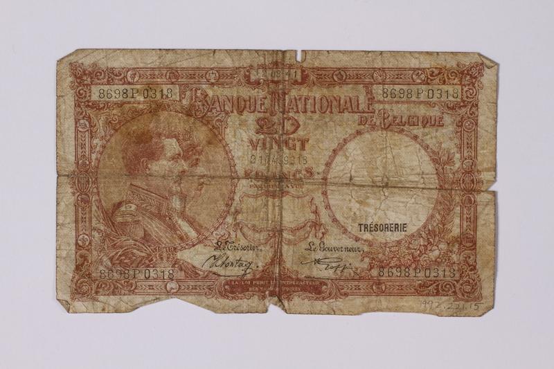 1992.221.15 front Belgium, 20 vingt note