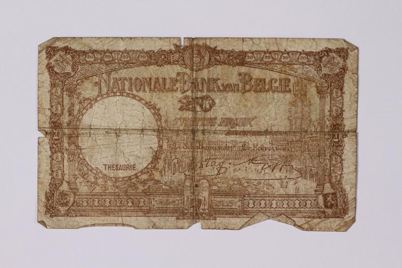 1992.221.15 back Belgium, 20 vingt note