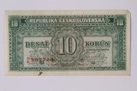 1992.221.16 front Czechoslovakia, 10 korun note  Click to enlarge