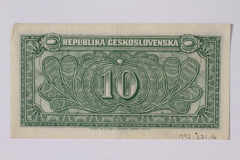 1992.221.16 back Czechoslovakia, 10 korun note