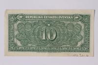1992.221.16 back Czechoslovakia, 10 korun note  Click to enlarge