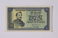 1992.221.18 front Czechoslovakia, 20 korun note  Click to enlarge