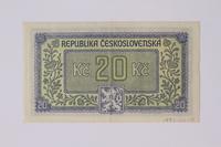 1992.221.18 back Czechoslovakia, 20 korun note  Click to enlarge