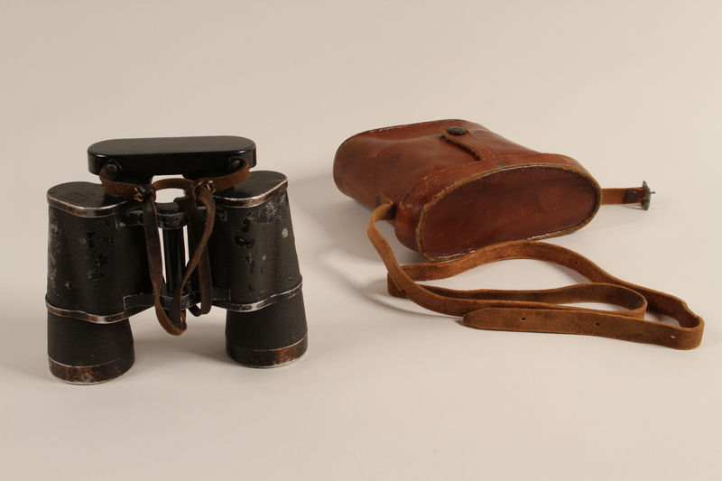 1992.221.1 a-b front German binoculars and case