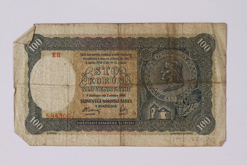 1992.221.20 front Czechoslovakia, 100 korun note