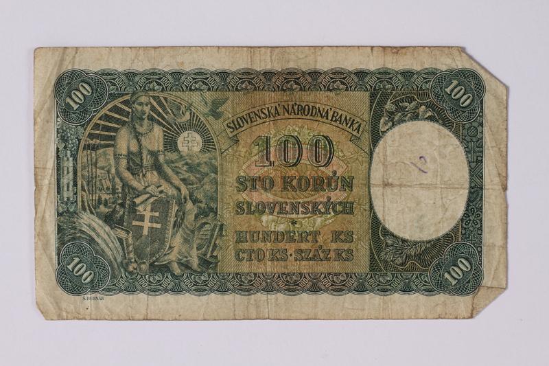 1992.221.20 back Czechoslovakia, 100 korun note