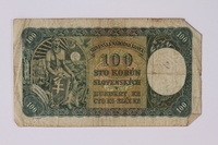 1992.221.20 back Czechoslovakia, 100 korun note  Click to enlarge