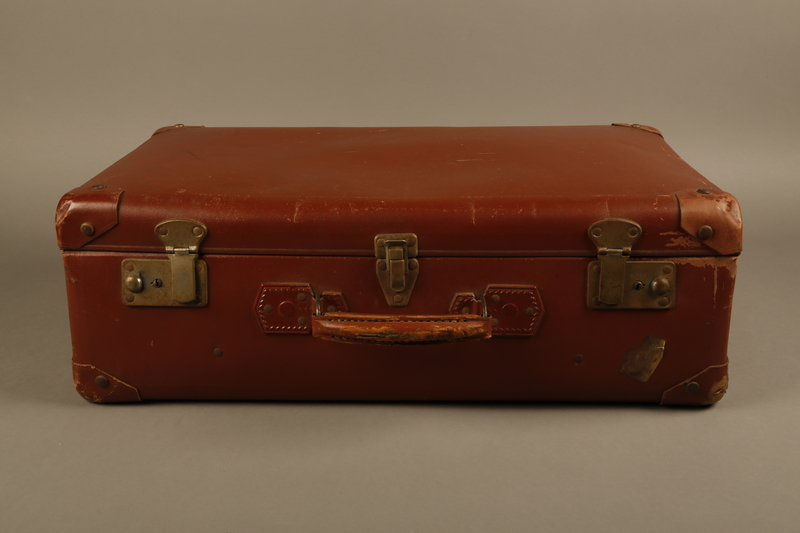 2018.613.7 front Vulcanized fiber suitcase owned by a member of the Frank family