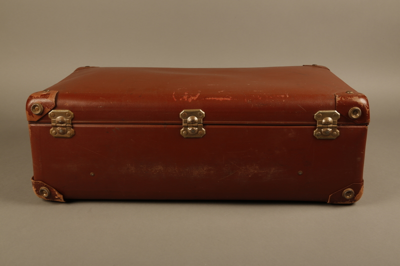 2018.613.7 back Vulcanized fiber suitcase owned by a member of the Frank family