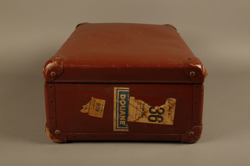 2018.613.7 right Vulcanized fiber suitcase owned by a member of the Frank family