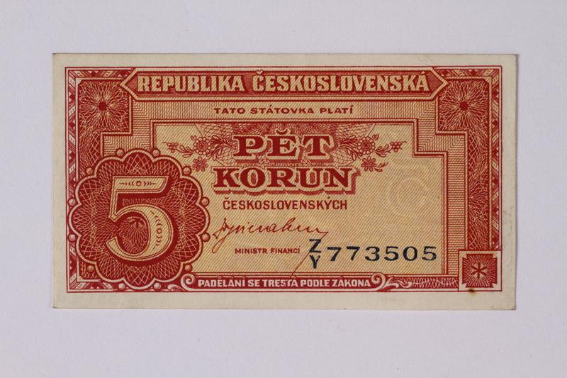 1992.221.24 front Czechoslovakia, 5 korun note