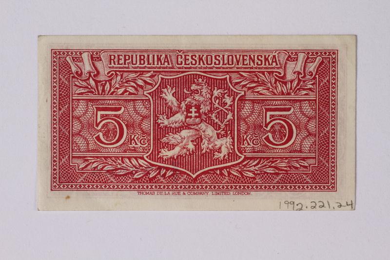 1992.221.24 back Czechoslovakia, 5 korun note