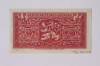 1992.221.24 back Czechoslovakia, 5 korun note  Click to enlarge