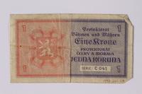 1992.221.28 back Czechoslovakia, 1 koruna note  Click to enlarge