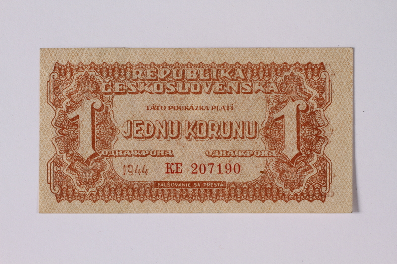 1992.221.34 front Czechoslovakia, 1 koruna note