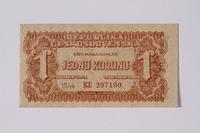 1992.221.34 front Czechoslovakia, 1 koruna note  Click to enlarge