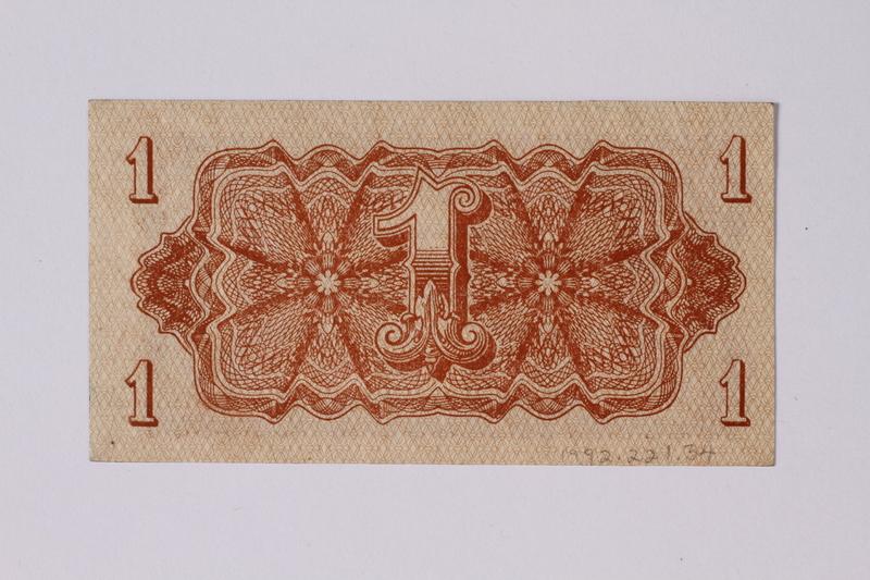 1992.221.34 back Czechoslovakia, 1 koruna note
