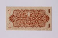 1992.221.34 back Czechoslovakia, 1 koruna note  Click to enlarge
